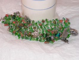 Riverdance - Hand Knitted Wire Bracelet by nightowl2704
