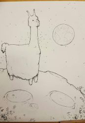 Space Llama - before colouring  by imjustamanatee