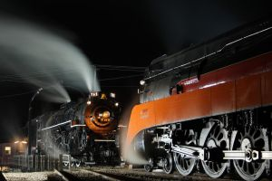 Night with SP 4449 and NKP 765 by 3window34