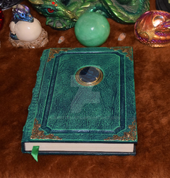 Green Shell Cameo book tome grimoire spellbook by RaptorArts