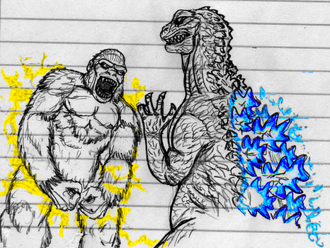 King Kong vs Godzilla sketch by CosbyDaf