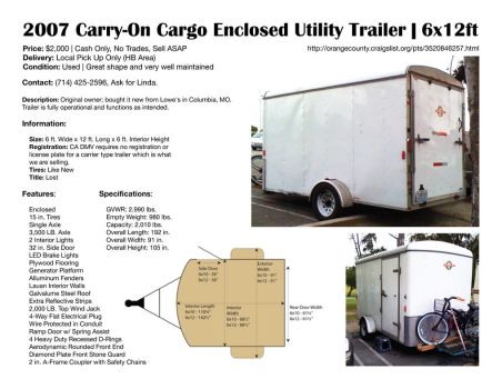 2007 Carry-On Cargo Enclosed Utility Trailer by EmmaL27