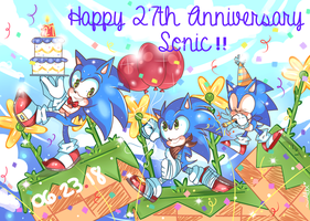 Happy 27th Anniversary Sonic~!! by chibiirose