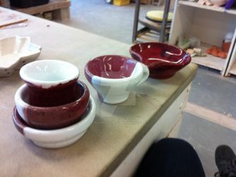 Red and White snack bowls, mugs, and mixing bowls by PrismsPalette