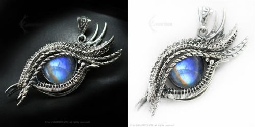 ESSADARM DRACO Silver and Rainbow Moonstone by LUNARIEEN