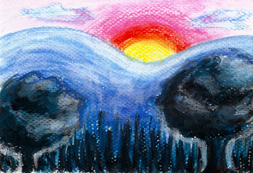 Colorful Sunset Landscape in Chalk Pastel by LoVeras