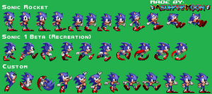 Custom Sonic Sprites Sheet - Sonic 1 Styled by AsuharaMoon