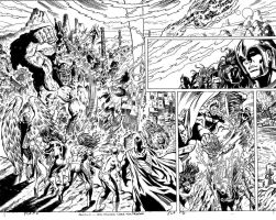 JLA 1999 ANNUAL ART NEVER PUBLISHED PAGE 2 AND 3 by Johnny-Retro65