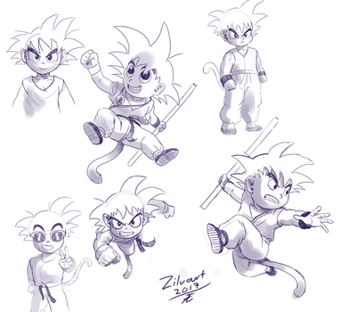 Kid Goku sketch dump. by zilvart