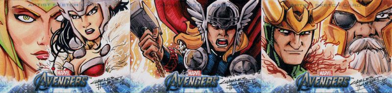 Avengers sketch cards Thor by KidNotorious