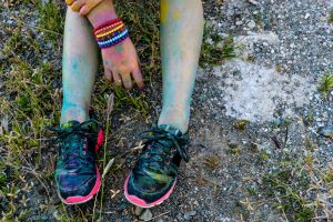 A Girl's Running Shoes In The Color Run by bluetekk