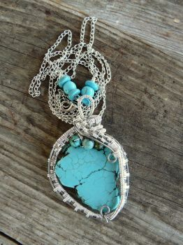 Howlite and Turquoise wire wrapped pendant by Naldor