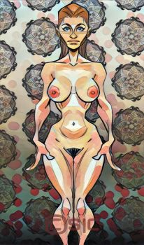 Nude against wallpaper1 by scamble