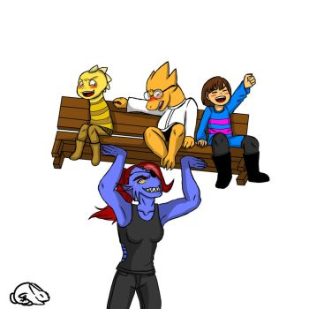 Undyne Benchpressing Frisk, Dino Kid, and Alphys by Spurlia