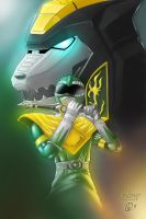 Green Ranger with Dragonzord (colored) by AndreBickley