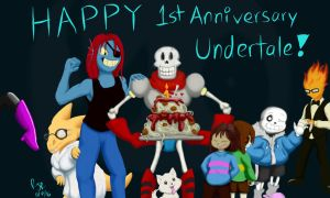 Undertale 1st birthday by catgir