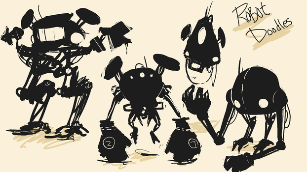 Robot Sketches by Opnast