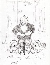 Retired Dwarf Warrior with his Dogs by RainGnome