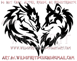 Tribal Dragon And Wolf Heart Design by WildSpiritWolf