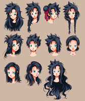 DBZ OC- Kyone's hairstyles. All by Fatenight