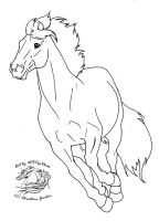 Galloping pony lineart..dA use by WSTopDeck
