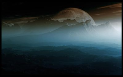 Matte Painting-Foggy Mountain by EYADSTUDIO