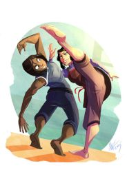 Asami and Korra training (read the description) by butthurt12