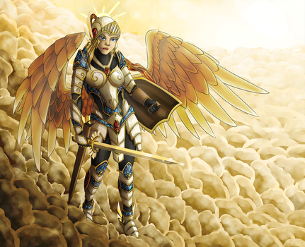 Commission - Divine Warrior by Cryophase