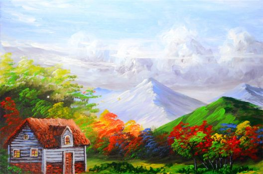 BEAUTIFUL HOUSE AND BASIC LANDSCAPE by beejay-artlife12