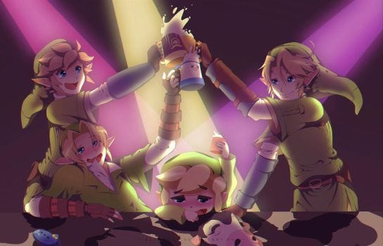 Commission: Link x 4 at Milk Bar by Zelbunnii