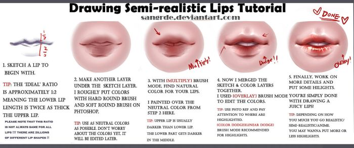 :: How to Draw -Juicy- semi-realistic Lips :: by Sangrde