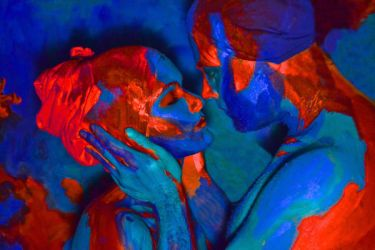Bodypainting - blue kiss by mihepu
