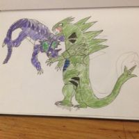 Pokemon/Godzilla Crossover Tyranitar vs Nidoking by Strikerprime
