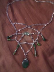 Silver And Green Chain Necklace by Juno-Gemini