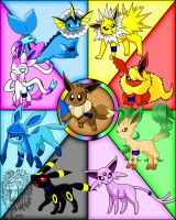 My Team Eevee x3 by TheBig-ChillQueen