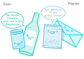 Garbage mascots: glass, paper by Antihelios
