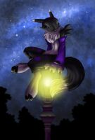 Black Renamon on a lantern V2 by Neomae