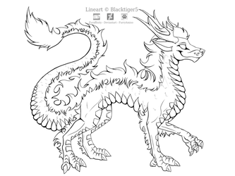 Free Eastern Dragon Line Art by Blacktiger5