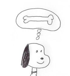 Snoopy thinking about a dog bone by dth1971