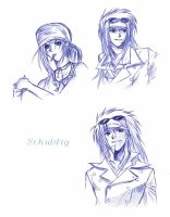 Schuldig - various sketches by Bombay