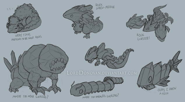 Crystal Core Mineral Creature Concepts by LordDonovan