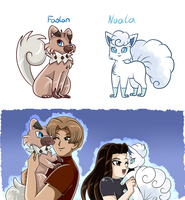 Faolan the Rockwuff and Nuala the Vulpix by PlatinaSena