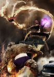 The Thing and the Human Torch vs. Tyros by ArtofthePainter