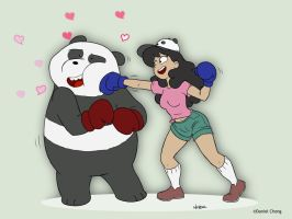Panda vs Amanda - love boxing. by Drawing-4Ever