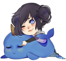 narwhals swimming in the ocean by meynari