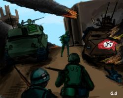 American soldiers after the battle by GiviDvali