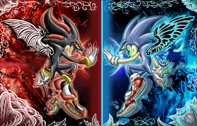Angel Sonic and Demon Shadow Wallpaper by shadowhatesomochao