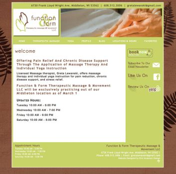 Function and Form Therapeutic Massage website by EricAndersonCreative