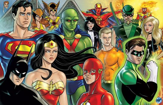 JLA Groupshot Colored by RichBernatovech