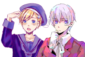 APH-with friend in paint chat by Nekomatako